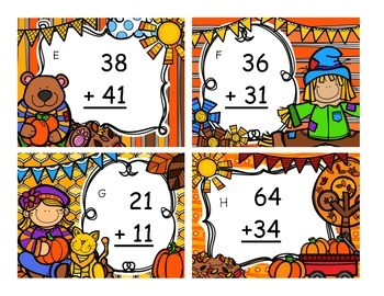 Falling into Double Digit Addition Task Cards (No Regrouping)