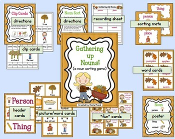Fall Parts of Speech, Syllables, and ABC Order Bundle