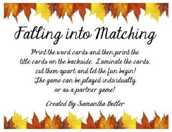 Falling into Matching: Sight Word Matching
