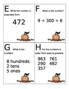 Falling into Numbers Place Value Task Cards