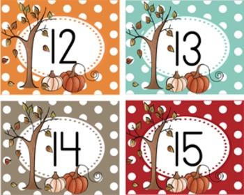 Falling leaves and Pumpkins 123 Number Wall Cubby Tags 0-35 Plus 8 Blank