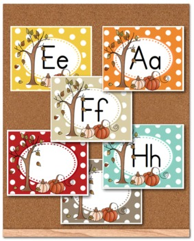 Falling leaves and Pumpkins ABC Word Wall Cards
