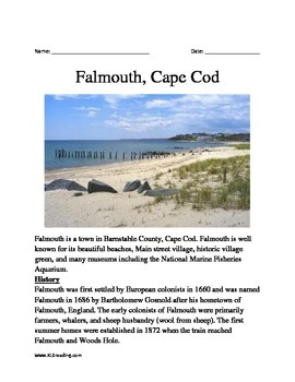 Falmouth, Cape Cod - Informational Article Facts Questions Vocabulary History