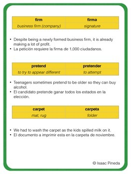 False Cognates: English - Spanish