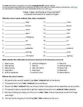 False, Fake, Artificial or Counterfeit? Collocations Worksheet for B1 English