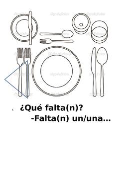 Falta y queda with food and utensils Spanish vocab