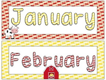 Farm Theme Months of the Year Signs