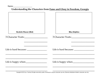 Fame and Glory in Freedom, Georgia by Barbara O'Conner Literature Circle Study