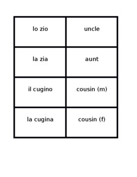 Famiglia (Family in Italian) Concentration games