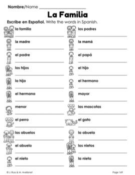 Familia Family Beginning Spanish Lessons for Elementary