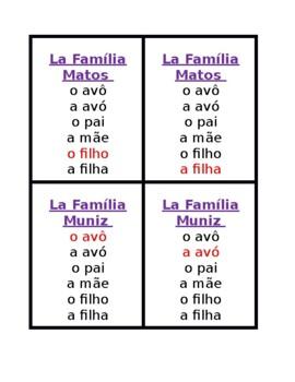 Família (Family in Portuguese) Jogo de sete famílias