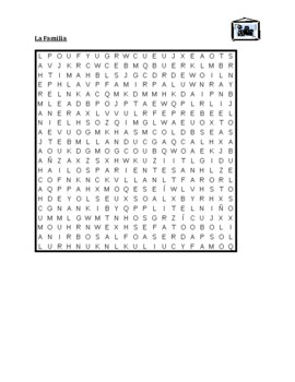 Familia (Family in Spanish) Wordsearch for differentiated instruction