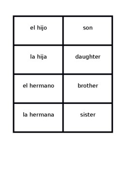 Familia (Family in Spanish) Vocabulary Concentration games
