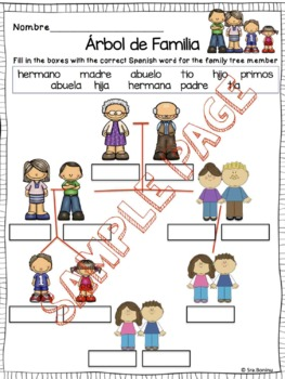 Familia - SPANISH  Family Members worksheets & flashcards