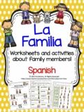 Familia - SPANISH  Family Members worksheets & flashcards