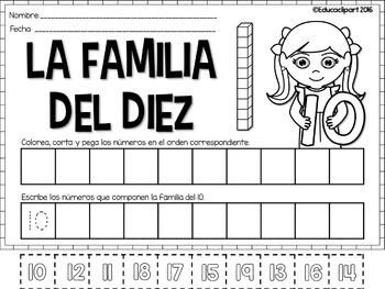 Familia de números - corta, pega, escribe