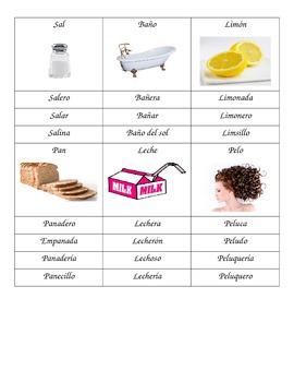 Familias de palabras/ Spanish Word Families
