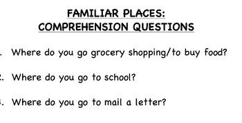 Familiar Community Places: Flashcard Book & Comprehension Questions