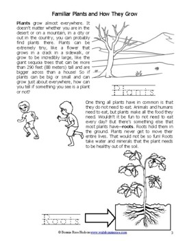 Familiar Plants and How They Grow-Science Level 1 (Plus TpT Digital Activity)