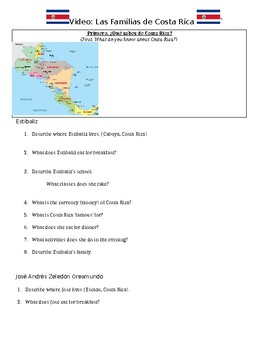"""Familias de Costa Rica_Listening Guide_From """"Families of the World"""" video series"""