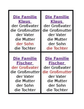 Familie (Family in German) Spiel von sieben Familien