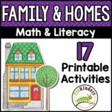 Family & Homes Printable Math & Literacy Activities for Pr