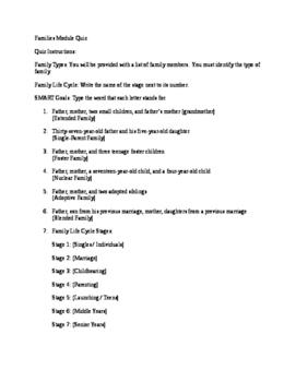 Families Quiz for Child Development, Child Guidance, FACS, CTE