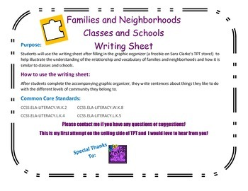 Families and Neighborhoods Writing Sheet for the Graphic Organizer