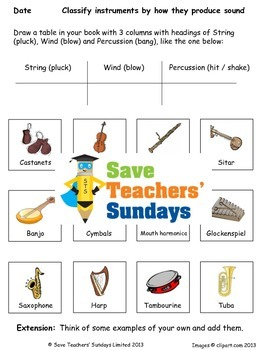 Families of instruments Lesson plan and Worksheet