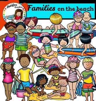 Families on the beach clip art