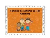 Familles des nombres 3 à 18: additions. Centre de math et activités.