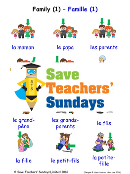 Family 1 in French Worksheets, Games, Activities and Flash Cards