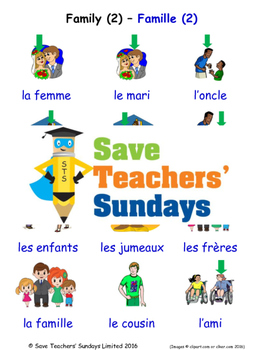 Family 2 in French Worksheets, Games, Activities and Flash Cards
