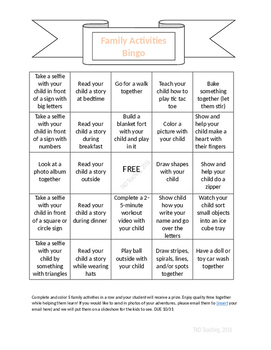 Family Activity Bingo