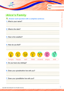 Family - Alice's Family - Grade 1 (with 'Triple-Track Writing Lines')