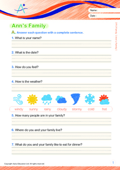Family - Ann's Family -Grade 1 (with 'Triple-Track Writing Lines')