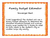 Family Budget Estimator Scavenger Hunt 7.13d Personal Financial Literacy