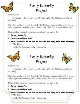 Family Butterfly Homework