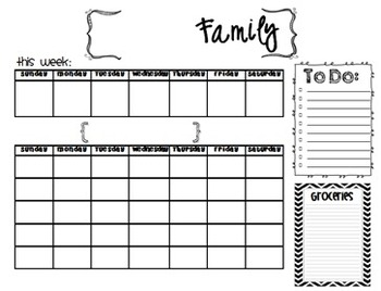 image about Printable Family Calendar titled Spouse and children Calendar Printable by means of Innovative Clroom Classes TpT
