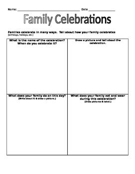 Family Celebrations worksheet