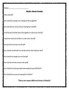 Family Change Myth worksheet
