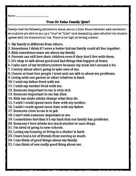 Family Change True or False Quiz