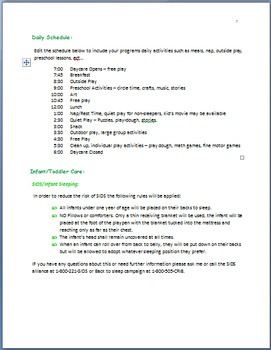 Family Childcare Basic Parent Handbook Template