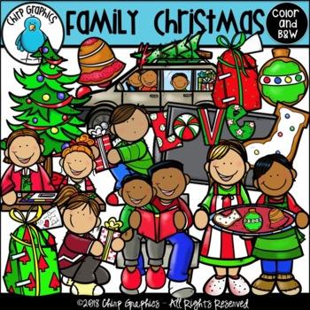 Family Christmas Clip Art Set - Chirp Graphics