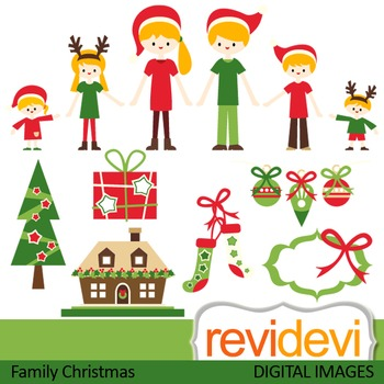 Family Christmas clip art (parents, kids, mom, dad, brothers, sisters) 08112