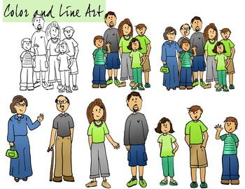 Family Clip Art - Color and Line Art 18 pc set