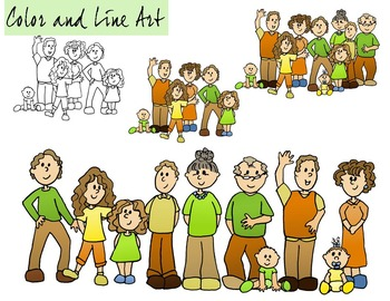 Family Clip Art - Color and Line Art 20 pc set