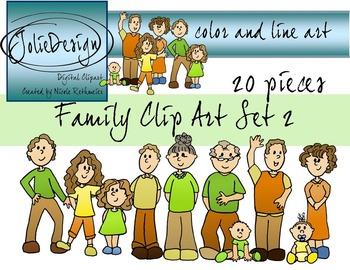 Family Clip Art - Color and Line Art 20 pc set