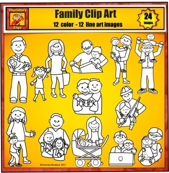 Family Clip Art - Multicultural Characters by Charlotte's Clips