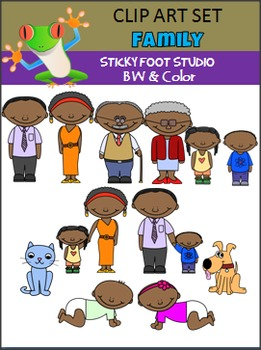 Family Clip Art Set (color and bw)